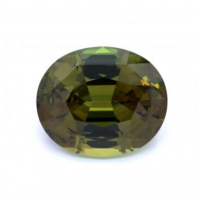 15.14克拉鲜色EC2椭圆形英国金绿宝石